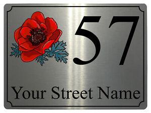 929 Personalised Address & Number Poppy Metal Aluminium Sign Plaque Door House