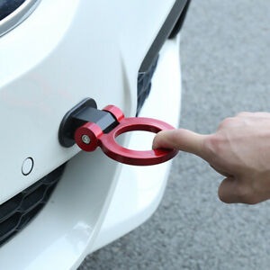 Red Universal Ring Track Racing Style Tow Hook Look Decoration Car Accessories