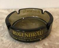 "RARE RUGENBRAU BREWERY INTERLAKEN Ashtray Brown Glass France 4"" Diameter"