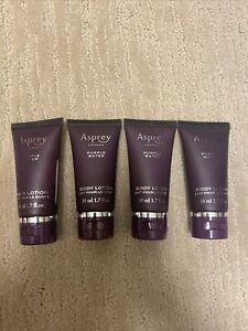 Lot Of 4 Asprey London Purple Water Body Lotion | 1.7 oz | 50 ml | Travel Size