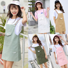 Women Girls Korean Casual Strap Dungaree Overall Dress Cotton Pinafore Skirts