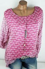 38 40 40/42 Edle 2 lagige Chiffon Seide Bluse cooles Muster Pailletten Pink