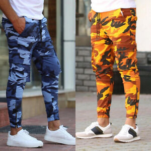 Mens Casual Camouflage Slim Pants Sport Fitness Joggers Sweatpants Long Trousers