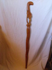Vintage Solid Wood Walking Stick, Man with Pipe Wearing a Bird Hat