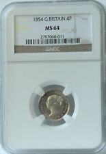 1854 Great Britain 4 Pence MS64 NGC.  Nice luster.