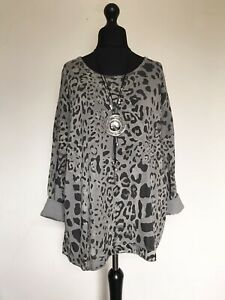 New ITALIAN LAGENLOOK Beige Leopard Print Long Sleeve Top - UK 16 18 20