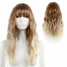 Fluffy Long Wavy Wig with Bang Two Tone Ombre Blonde Brown Hair Costume Cosplay