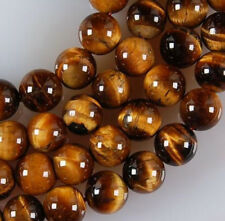 "Real Natural 8mm African Roar Tiger's Eye Round Loose Beads 15"" Strand"