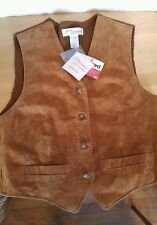 NWT Norm Thompson Brown Leather Women's Leather/Sweater Vest Size M
