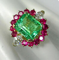 5Ct Green Emerald, Diamond & Ruby Cluster Cocktail Ring in 14K Yellow Gold Over