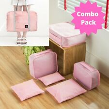 Durable Travel Bag With 6 Pc. Packing Cube Organizer Combination Set (Pink)