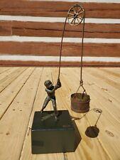 Rare Curtis Jere Bronze Sculpture Statue 1970 Boy Pulling Well Bucket