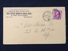 """1891 ~JAS. R. WATERLOW REAL ESTATE~ NEW YORK ADVERTISING COVER+FANCY """"G"""" CANCEL!"""