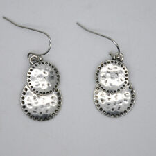 Lucky brand double drop earring vintage silver plated women jewelry