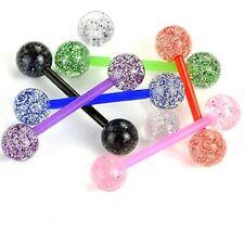 PiercedOff Multipack of 7 Flexible Barbells with Ultra Glitter Balls 14GA (1....