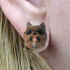 Cairn Terrier Brindle Tiny One Dog Head Post Earrings Jewelry