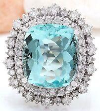 11.71CTW NATURAL AQUAMARINE AND DIAMOND RING IN 14K WHITE GOLD