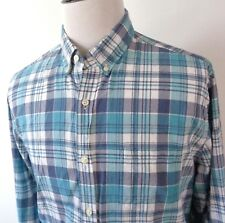 J Crew XL Slimmer Fit Shirt Different Blues White Plaid Button Up Long Sleeve