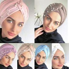 Ladies Turban Hat Beaded Pearls Muslim Wrap Hair Cap Hijab Head Scarf Bandanna
