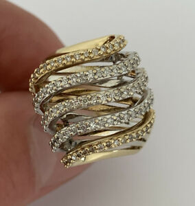 9ct Yellow & White Gold 1 Carat Diamond Extremely Large Heavy Cluster Ring, 9k