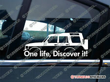 2x 'One Life, Discover it!  silhouette stickers for Land Rover Discovery,classic
