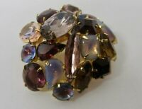 Vintage Pronged Set Shades of Purple, Pink & Opalescent Stones Pin Brooch