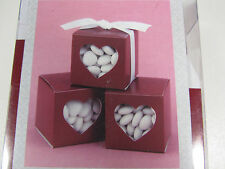 NEW Red Heart Window Favor Boxes Wedding Graduation Party Valentines