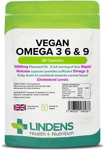 Vegan Omega 3 6 & 9 (Flaxseed) 1000mg Capsules (90 pack) [Lindens 6238]