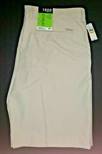 IZOD Men's 38 Golf Shorts Classic Fit Stretch Flat Front Beige / Taupe NWT