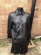 LADIES MARKS & SPENCER SIZE 16 BLACK LEATHER TRENCH COAT IN EXCELLENT CONDITION