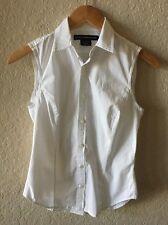 Women's Ralph Lauren Sport White Sleeveless Button Down Shirt Top Size 2