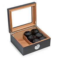 """""""MENDOCINO"""" CEDAR LINED HUMIDOR WITH 6 MARBLE TOBACCO & WEED CANNABIS CONTAINERS"""