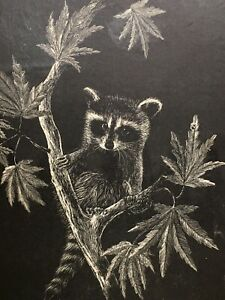 Raccoon Painting Black & White By Jack Laumena Signed Limited Edition 21/200 Vtg