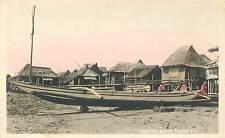 PHILLIPINES - FISHING BOATS, TONDO, P.I. TINTED REAL PHOTO POSTCARD OLD VIEW