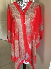 Short Kaftan Batwing Sleeve Chiffon Casual Top Red and gold paisley design