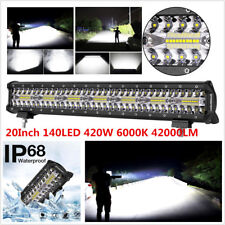20 Inch 140LED 420W 6000K 42000LM Flood Spot Combo LED Light Bar Fog Work Light
