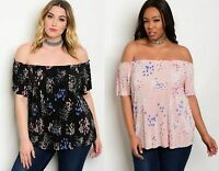 WOMENS LADIES FLORAL BOHO OFF THE SHOULDER GYPSY SUMMER TOP PLUS SIZE 18-24