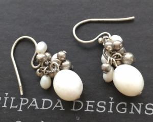 Silpada 925 Sterling Silver pearl bead dangle cluster earrings W1352 RARE