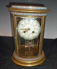 Rare Antique Marti French Oval Crystal Regulator Clock w/ Champleve Decorated