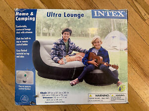 New Intex Inflatable Home Camping Ultra Lounge W/ Ottoman 68564EP Flcoked