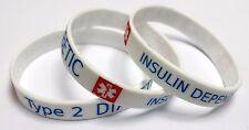 2x DIABETES Type 2 INSULIN Dependent Diabetic Medical Alert Wristband bracelet