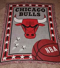 "Vintage 54"" Red Northwest Company CHICAGO BULLS Woven Tapestry Throw Blanket"