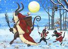 ACEO PRINT OF PAINTING RYTA CHRISTMAS KRAMPUS BLACK CAT GERMAN VINTAGE STYLE ART