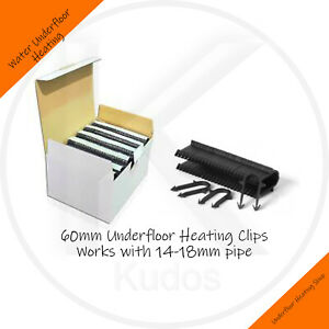 60MM UNDERFLOOR HEATING UFH PIPE CLIP STAPLES FIT 16MM PIPE WORKS WITH 14-20mm