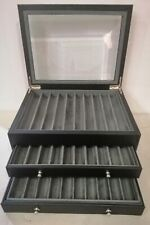 BROWN CALF LEATHER COLLECTOR PEN BOX FOR 30 PENS - NEW