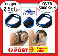 2 x Stop Snoring Strap Adjustable Chin Support Aid Sleep Anti Snore Device Jaw