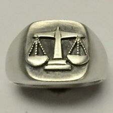MJG STERLING SILVER SCALES OF JUSTICE RING.LIGHT. LAWYER. PARALEGAL. SIZE 10 1/4