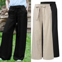 Mode Femme Pantalon Loisir Ample Bande élastique à la taille Jambe Large Plus