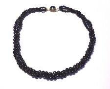 "18"" Gorgeous 3 Strand Woven Tapered Genuine Black Coral Beaded Necklace"