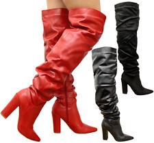 Damas Mujeres Fruncido en Slough Tacones De Bloque De Alto Del Muslo Sobre La Rodilla Botas Zapatos Talla